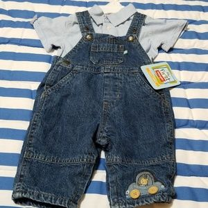 Overalls Set with Wrangler button up
